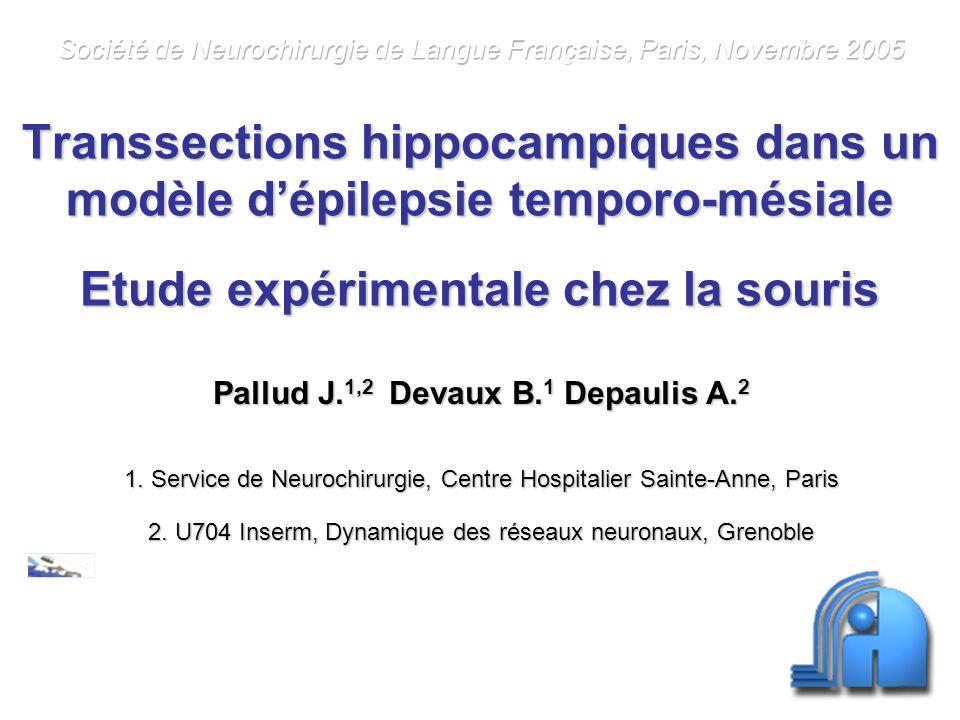 Objectifs Epilepsie de la face mésiale du lobe temporal Efficacité de la chirurgie de résection Importance des déficits neuropsychologiques post-opératoires Développement de techniques alternatives à la résection Modèle de transsection intra-hippocampique chez la souris Interruption des connexions longitudinales Respect des circuits poly-synaptiques transversaux