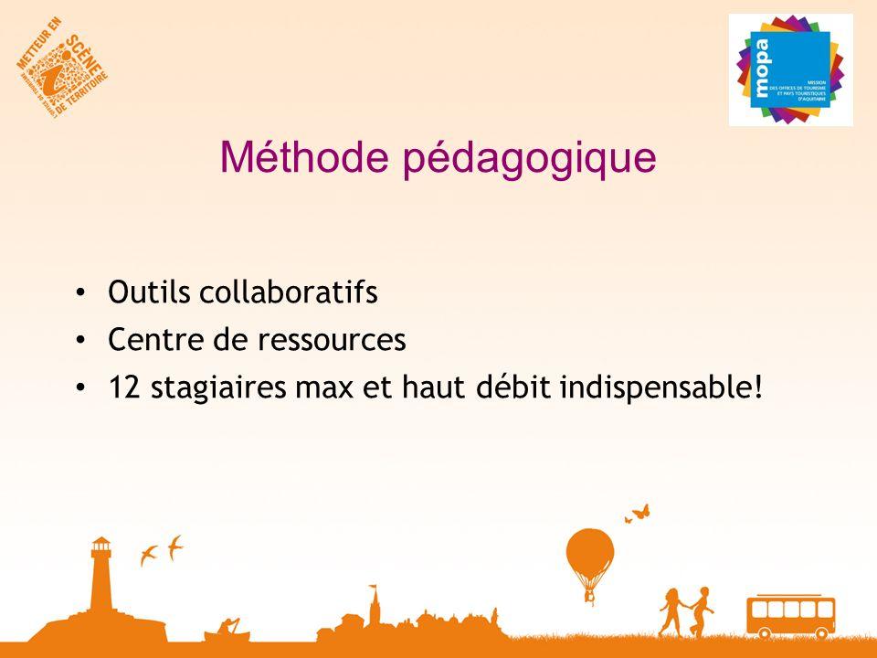 Méthode pédagogique Outils collaboratifs Centre de ressources 12 stagiaires max et haut débit indispensable!
