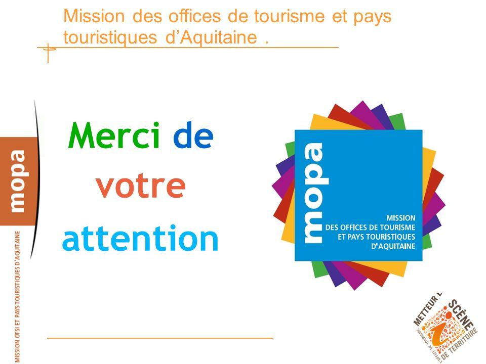 18 Mission des offices de tourisme et pays touristiques dAquitaine. Merci de votre attention