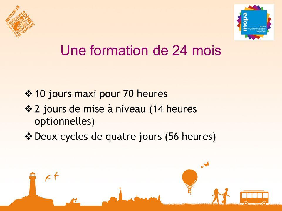 Une formation de 24 mois 10 jours maxi pour 70 heures 2 jours de mise à niveau (14 heures optionnelles) Deux cycles de quatre jours (56 heures)