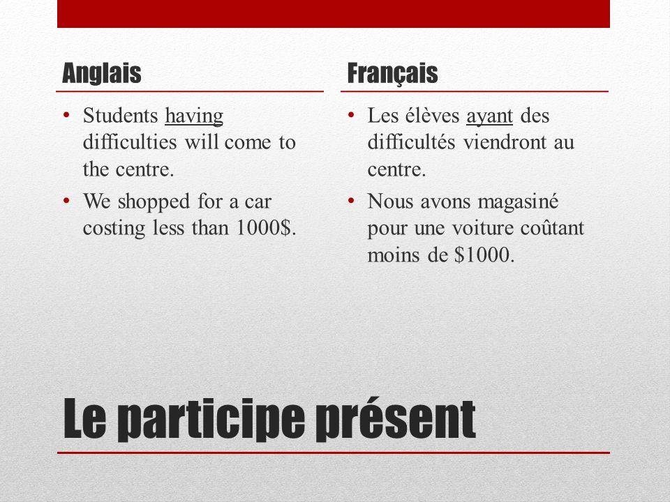 Le participe présent Anglais Students having difficulties will come to the centre. We shopped for a car costing less than 1000$. Français Les élèves a
