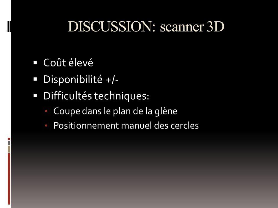 DISCUSSION: scanner 3D Coût élevé Disponibilité +/- Difficultés techniques: Coupe dans le plan de la glène Positionnement manuel des cercles