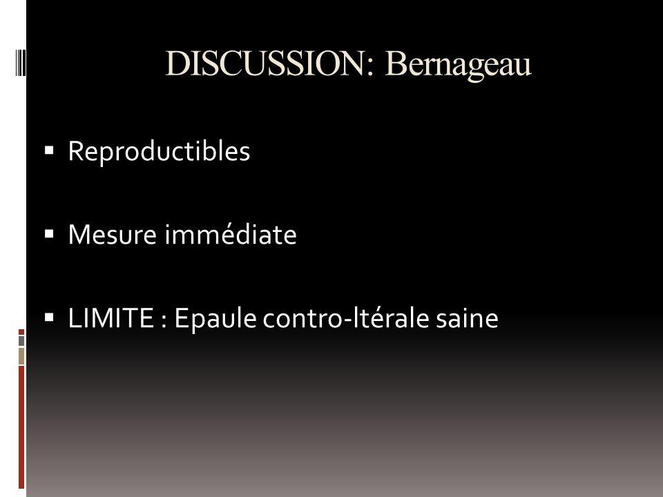 DISCUSSION: Bernageau Reproductibles Mesure immédiate LIMITE : Epaule contro-ltérale saine