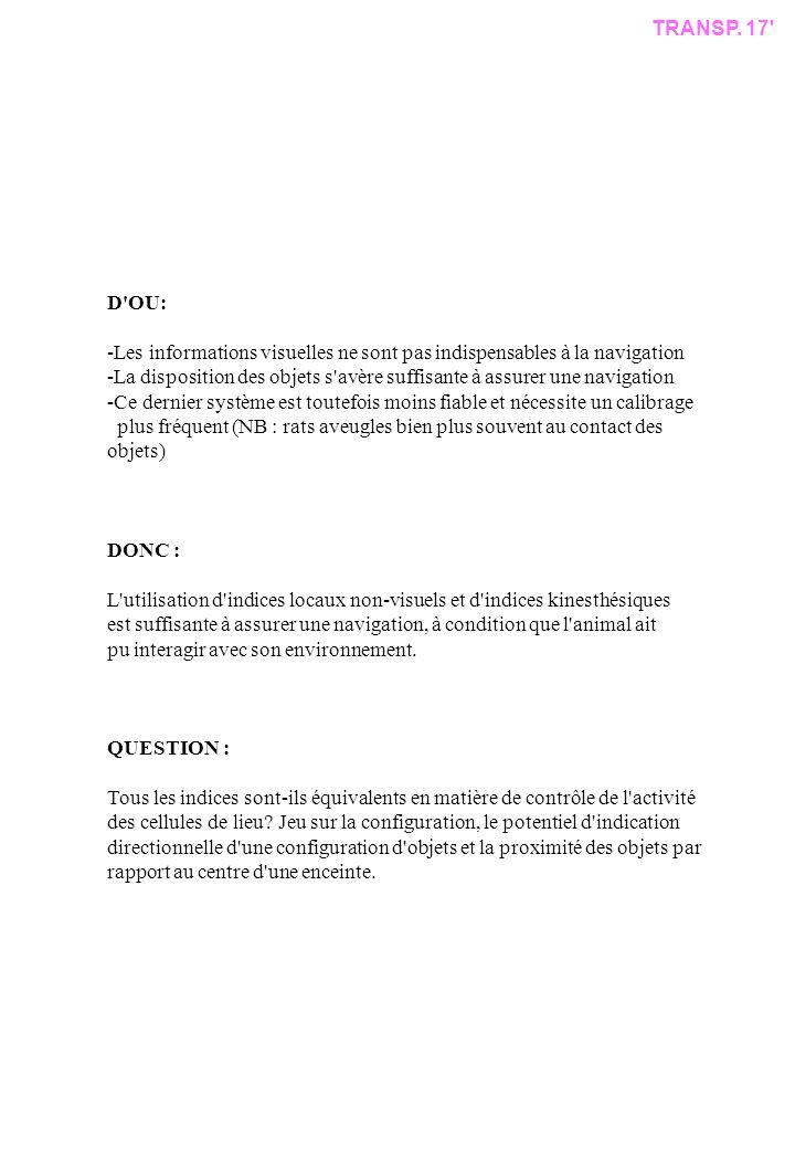 D OU: -Les informations visuelles ne sont pas indispensables à la navigation -La disposition des objets s avère suffisante à assurer une navigation -Ce dernier système est toutefois moins fiable et nécessite un calibrage plus fréquent (NB : rats aveugles bien plus souvent au contact des objets) DONC : L utilisation d indices locaux non-visuels et d indices kinesthésiques est suffisante à assurer une navigation, à condition que l animal ait pu interagir avec son environnement.