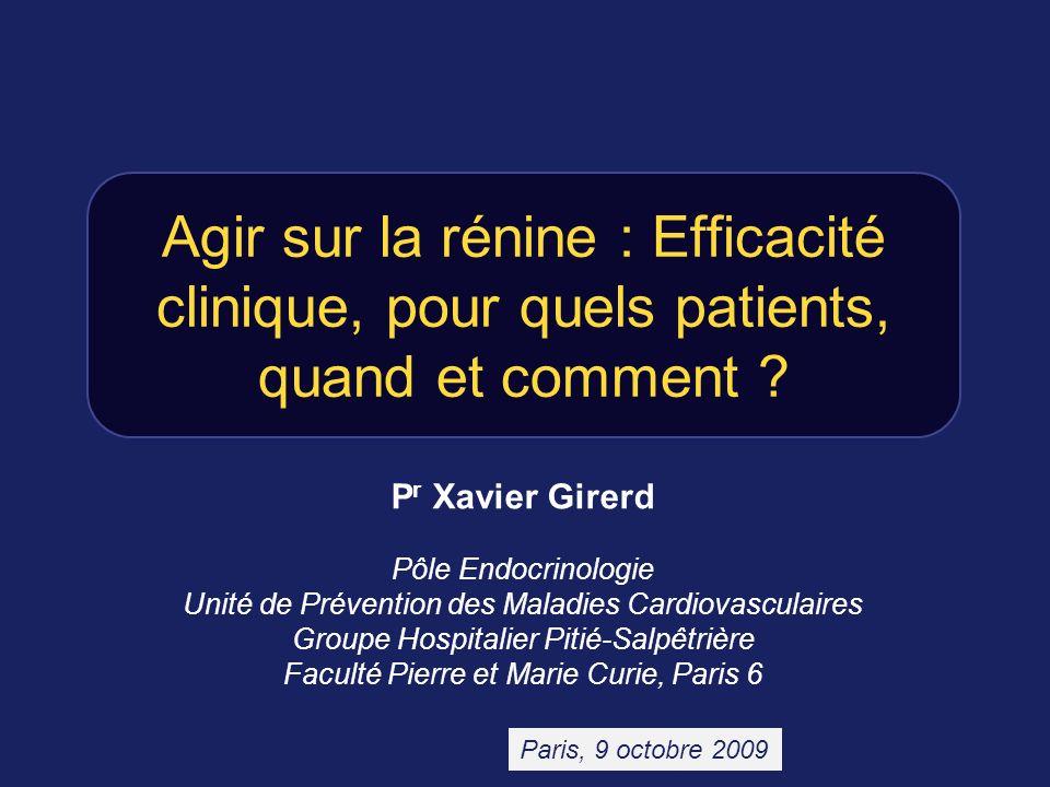 Agir sur la rénine : Efficacité clinique, pour quels patients, quand et comment ? P r Xavier Girerd Pôle Endocrinologie Unité de Prévention des Maladi