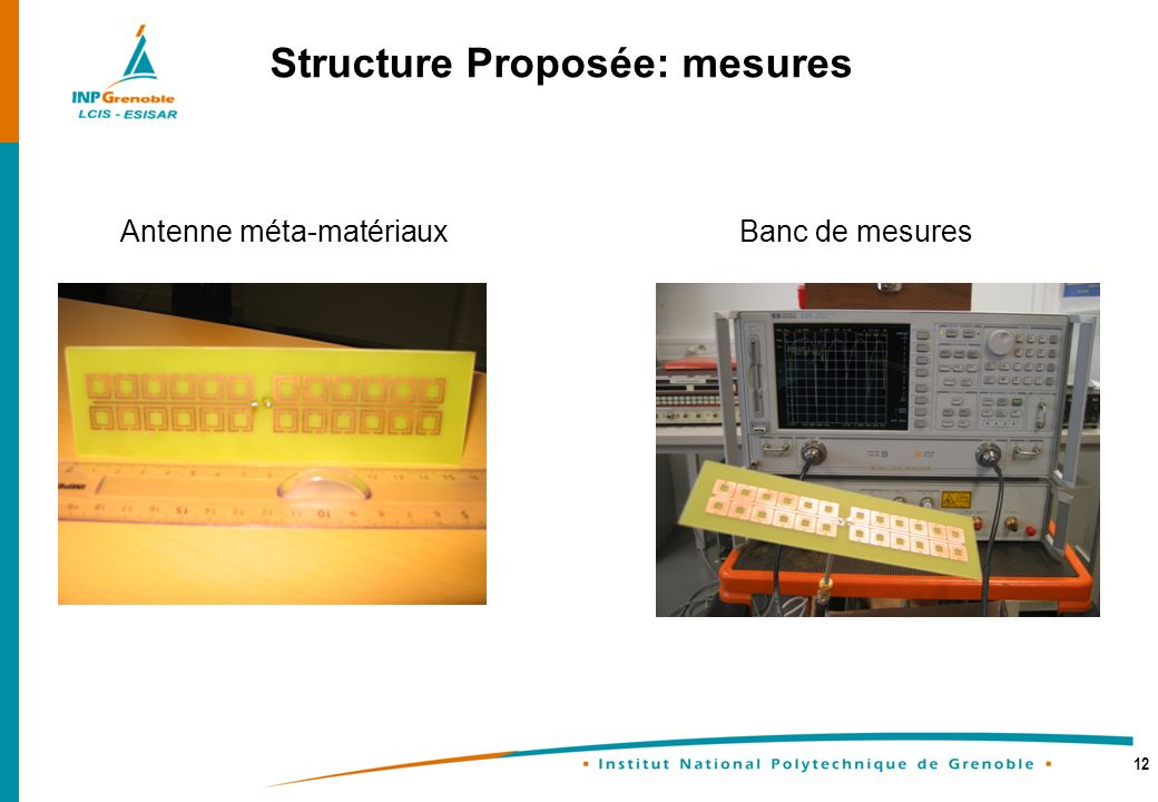 12 Structure Proposée: mesures Antenne méta-matériauxBanc de mesures