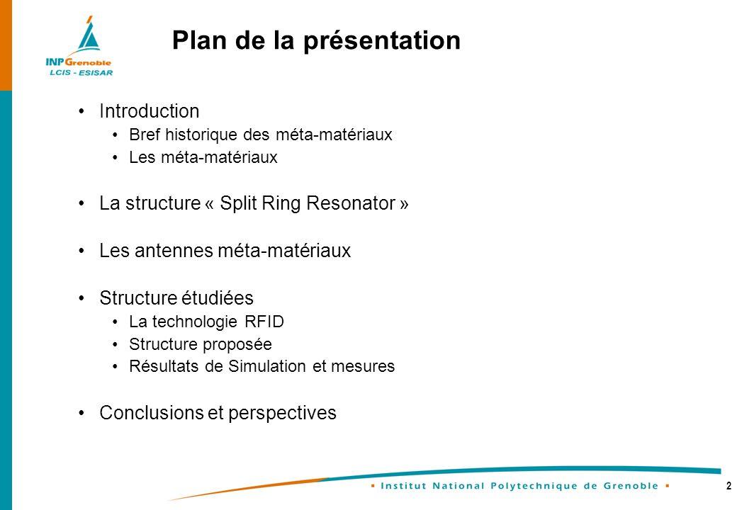 2 Plan de la présentation Introduction Bref historique des méta-matériaux Les méta-matériaux La structure « Split Ring Resonator » Les antennes méta-m
