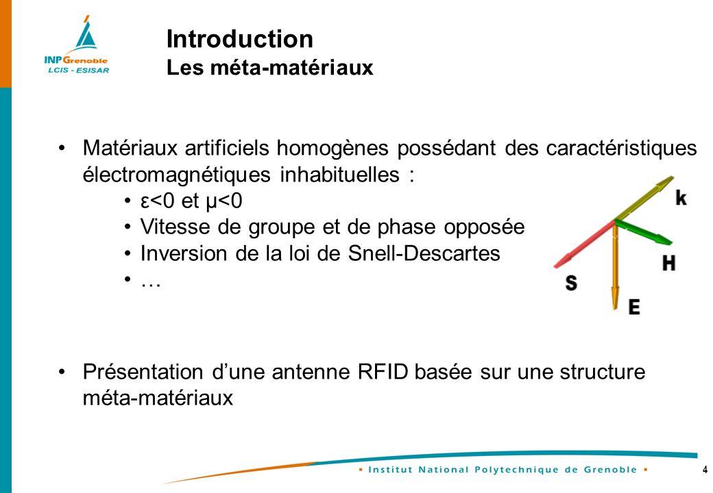 4 Introduction Les méta-matériaux Matériaux artificiels homogènes possédant des caractéristiques électromagnétiques inhabituelles : ε<0 et µ<0 Vitesse