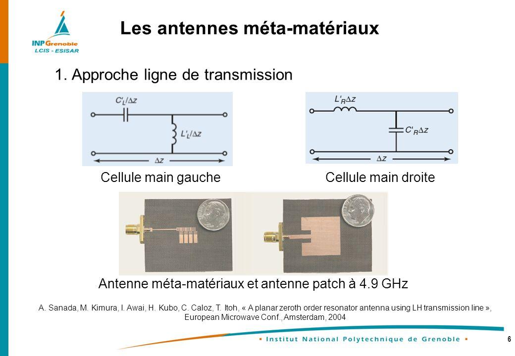 6 1. Approche ligne de transmission Les antennes méta-matériaux A. Sanada, M. Kimura, I. Awai, H. Kubo, C. Caloz, T. Itoh, « A planar zeroth order res