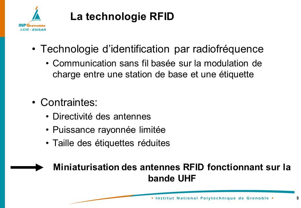 9 Technologie didentification par radiofréquence Communication sans fil basée sur la modulation de charge entre une station de base et une étiquette C