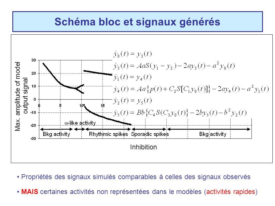 Schéma bloc et signaux générés Signal simulé (~LFP) MAIS certaines activités non représentées dans le modèles (activités rapides) Propriétés des signaux simulés comparables à celles des signaux observés Système dynamique non linéaire (EDS) Excitation = cste Inhibition