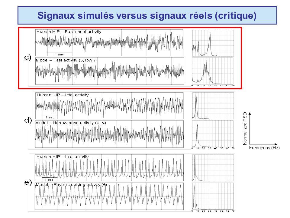 Signaux simulés versus signaux réels (critique) Frequency (Hz) Normalized PSD