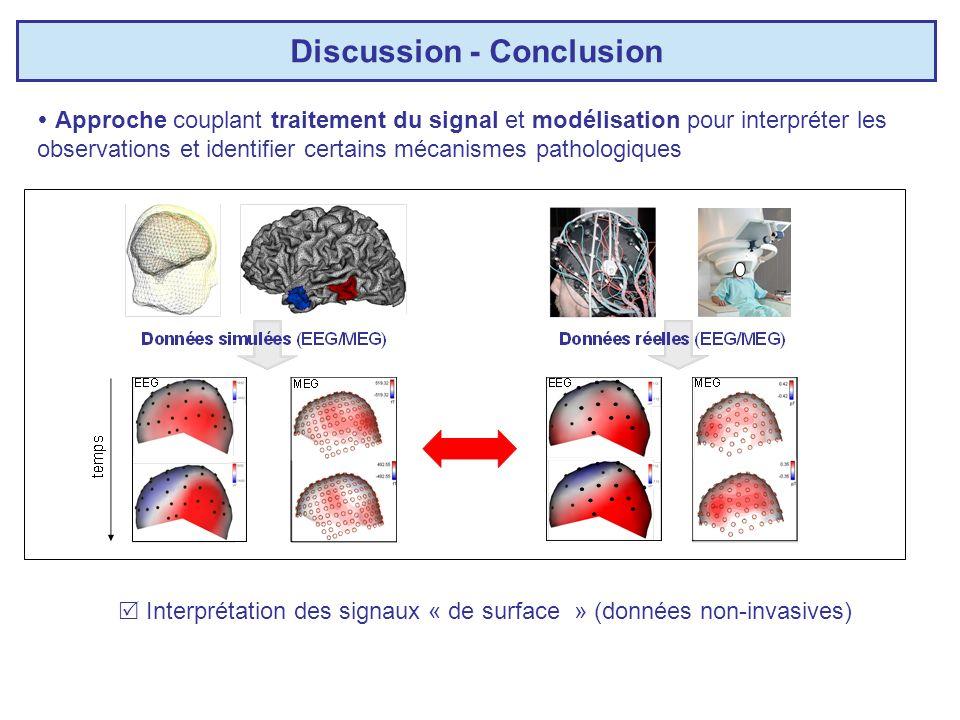 Discussion - Conclusion Approche couplant traitement du signal et modélisation pour interpréter les observations et identifier certains mécanismes pathologiques Intervalidation nécessaire avec les modèles expérimentaux Relations entre sources dactivité et signaux recueillis sur les capteurs (problème direct, biophysique) Interprétation des signaux « de surface » (données non-invasives) Problèmes non abordés Nécessité de développer des approches « multi-résolution » : - Agrégation de variables - changements de niveau (multi-formalisme?)