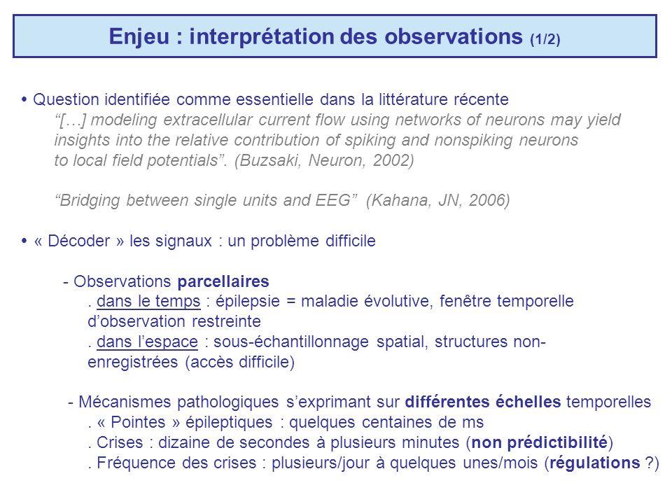 Enjeu : interprétation des observations (2/2) « Décoder » les signaux : un problème difficile - Diversité des systèmes enregistrés (cyto-architectonie spécifique des structures cérébrales) - Systèmes complexes.