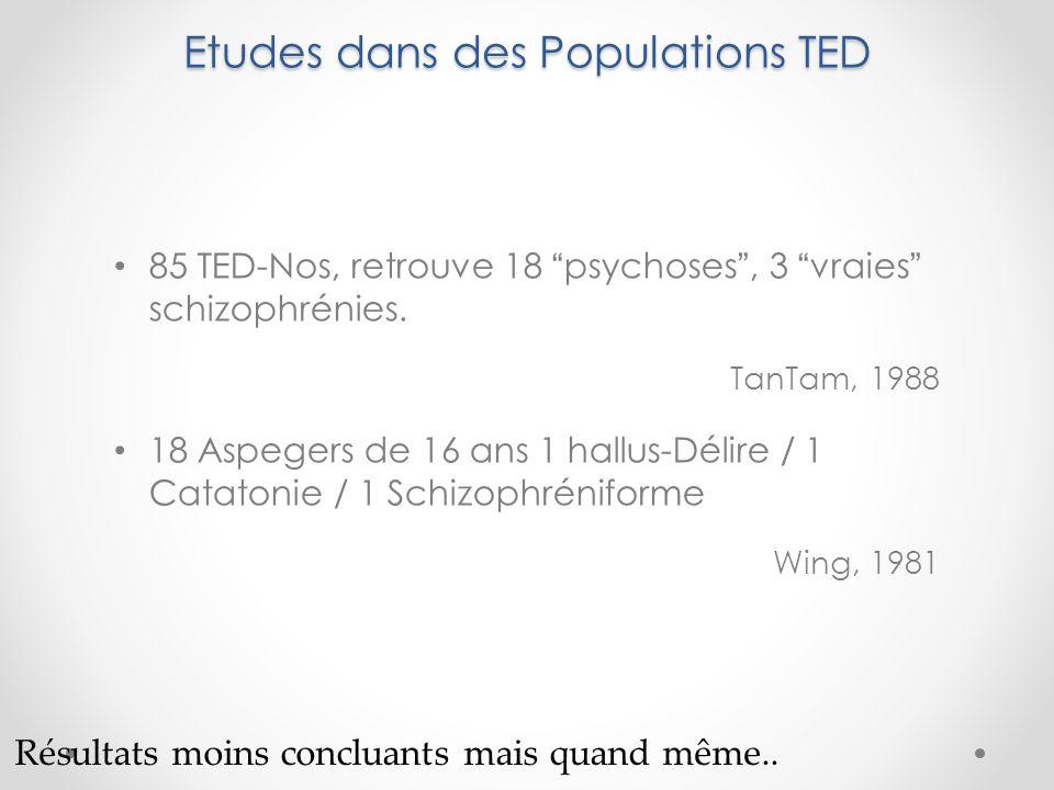 Etudes dans des Populations TED 85 TED-Nos, retrouve 18 psychoses, 3 vraies schizophrénies.