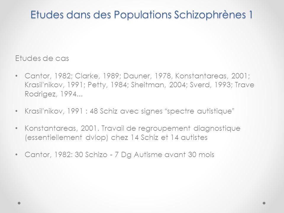 Etudes dans des Populations Schizophrènes 1 Etudes de cas Cantor, 1982; Clarke, 1989; Dauner, 1978, Konstantareas, 2001; Krasilnikov, 1991; Petty, 1984; Sheitman, 2004; Sverd, 1993; Trave Rodrigez, 1994...