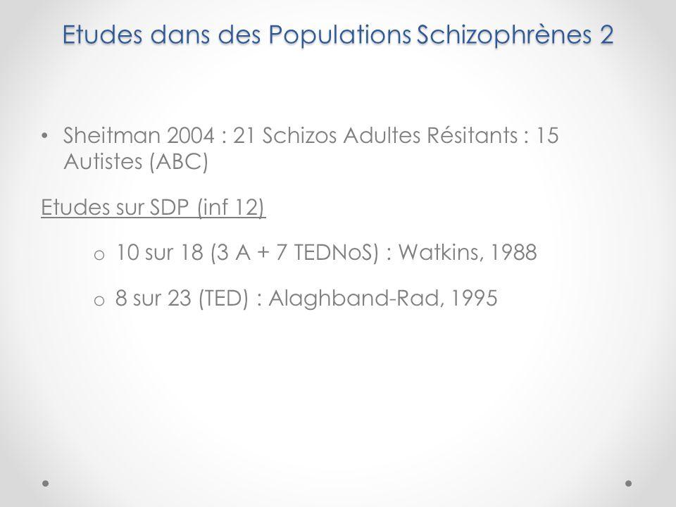 Etudes dans des Populations Schizophrènes 2 Sheitman 2004 : 21 Schizos Adultes Résitants : 15 Autistes (ABC) Etudes sur SDP (inf 12) o 10 sur 18 (3 A + 7 TEDNoS) : Watkins, 1988 o 8 sur 23 (TED) : Alaghband-Rad, 1995
