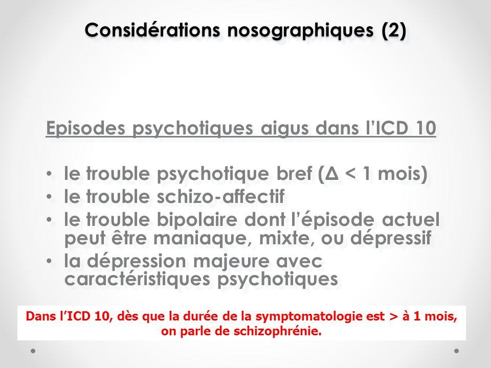 Considérations nosographiques (2) Episodes psychotiques aigus dans lICD 10 le trouble psychotique bref (Δ < 1 mois) le trouble schizo-affectif le trouble bipolaire dont lépisode actuel peut être maniaque, mixte, ou dépressif la dépression majeure avec caractéristiques psychotiques Episodes psychotiques aigus dans lICD 10 le trouble psychotique bref (Δ < 1 mois) le trouble schizo-affectif le trouble bipolaire dont lépisode actuel peut être maniaque, mixte, ou dépressif la dépression majeure avec caractéristiques psychotiques Dans lICD 10, dès que la durée de la symptomatologie est > à 1 mois, on parle de schizophrénie.