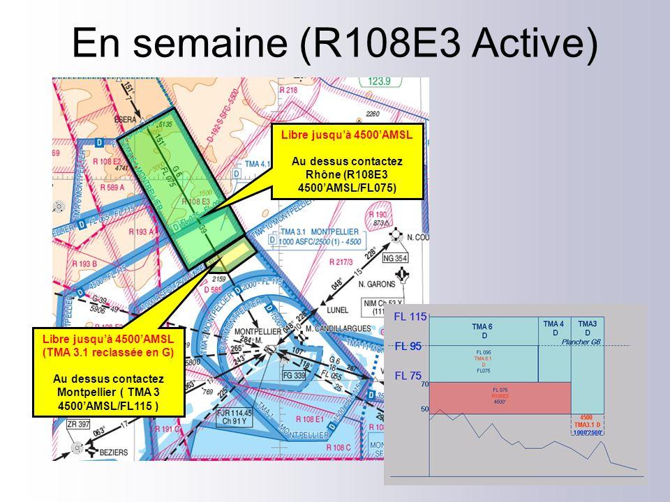 Libre jusquà 4500AMSL Au dessus contactez Rhône (R108E3 4500AMSL/FL075) Libre jusquà 4500AMSL (TMA 3.1 reclassée en G) Au dessus contactez Montpellier