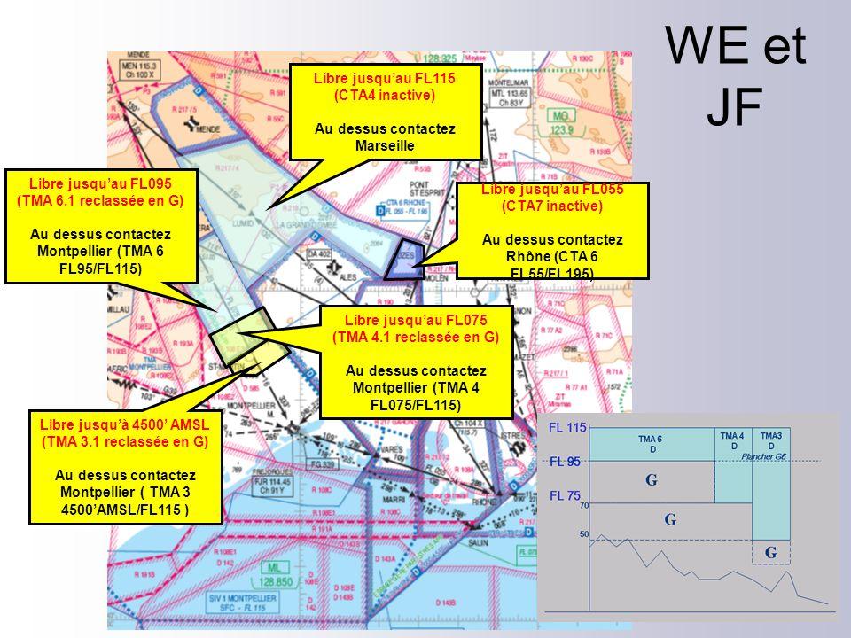 Libre jusquau FL075 (TMA 4.1 reclassée en G) Au dessus contactez Montpellier (TMA 4 FL075/FL115) Libre jusquau FL055 (CTA7 inactive) Au dessus contact