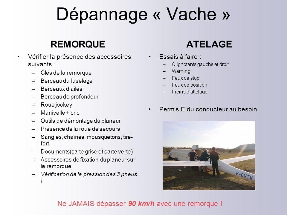 Dépannage « Vache » REMORQUE Vérifier la présence des accessoires suivants : –Clés de la remorque –Berceau du fuselage –Berceaux dailes –Berceau de pr