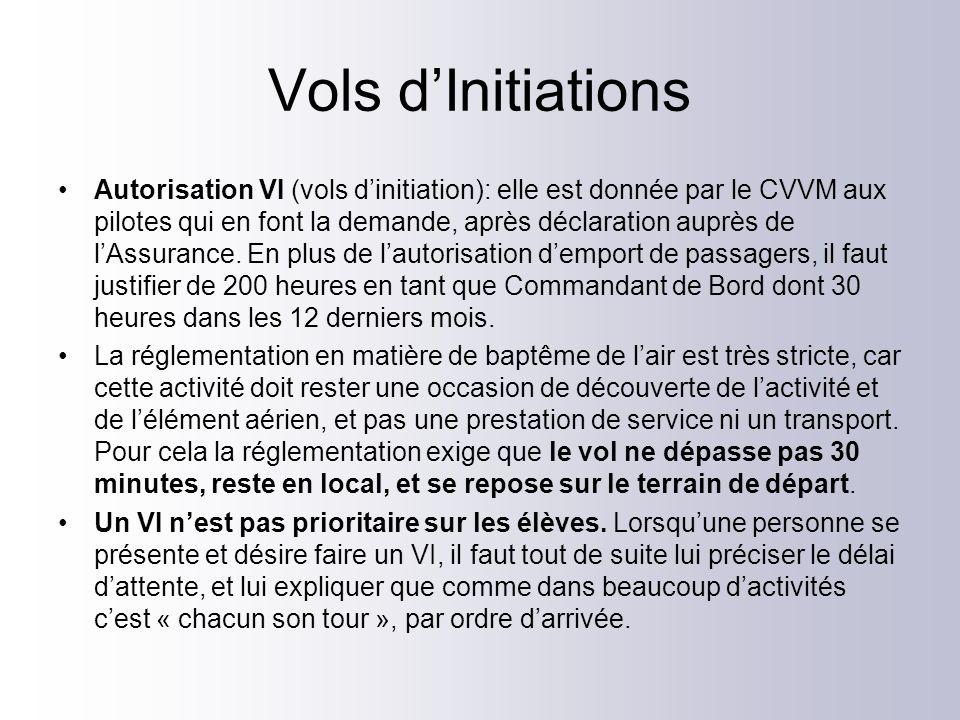 Vols dInitiations Autorisation VI (vols dinitiation): elle est donnée par le CVVM aux pilotes qui en font la demande, après déclaration auprès de lAss