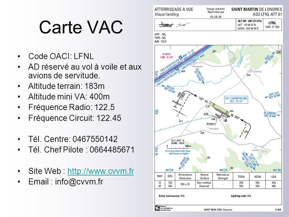 Carte VAC Code OACI: LFNL AD réservé au vol à voile et aux avions de servitude. Altitude terrain: 183m Altitude mini VA: 400m Fréquence Radio: 122.5 F