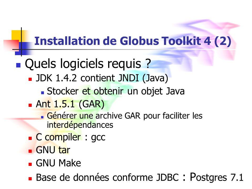 Installation de Globus Toolkit 4 (2) Quels logiciels requis .