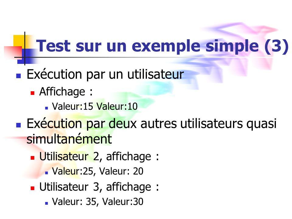 Test sur un exemple simple (3) Exécution par un utilisateur Affichage : Valeur:15 Valeur:10 Exécution par deux autres utilisateurs quasi simultanément Utilisateur 2, affichage : Valeur:25, Valeur: 20 Utilisateur 3, affichage : Valeur: 35, Valeur:30