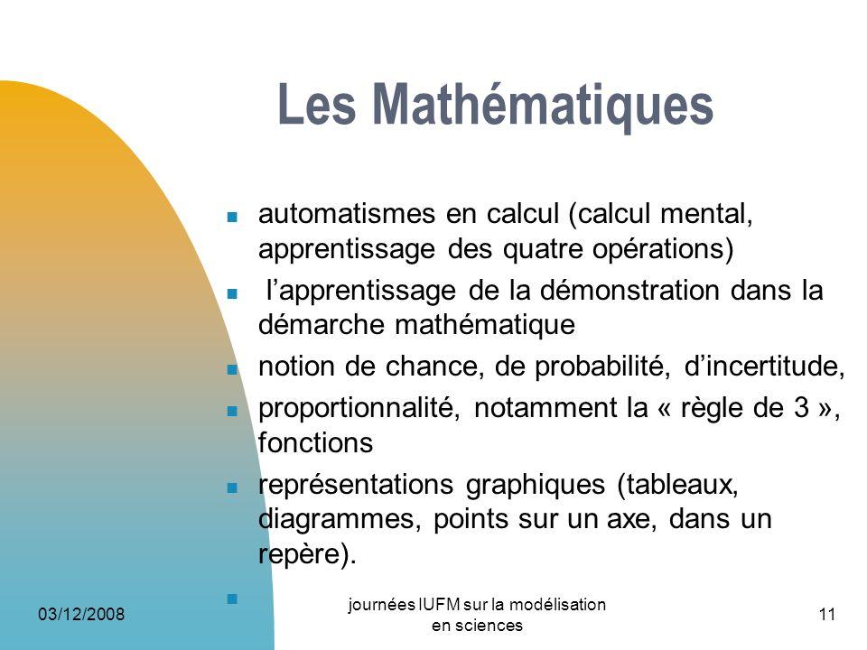 03/12/2008 journées IUFM sur la modélisation en sciences 11 Les Mathématiques automatismes en calcul (calcul mental, apprentissage des quatre opératio