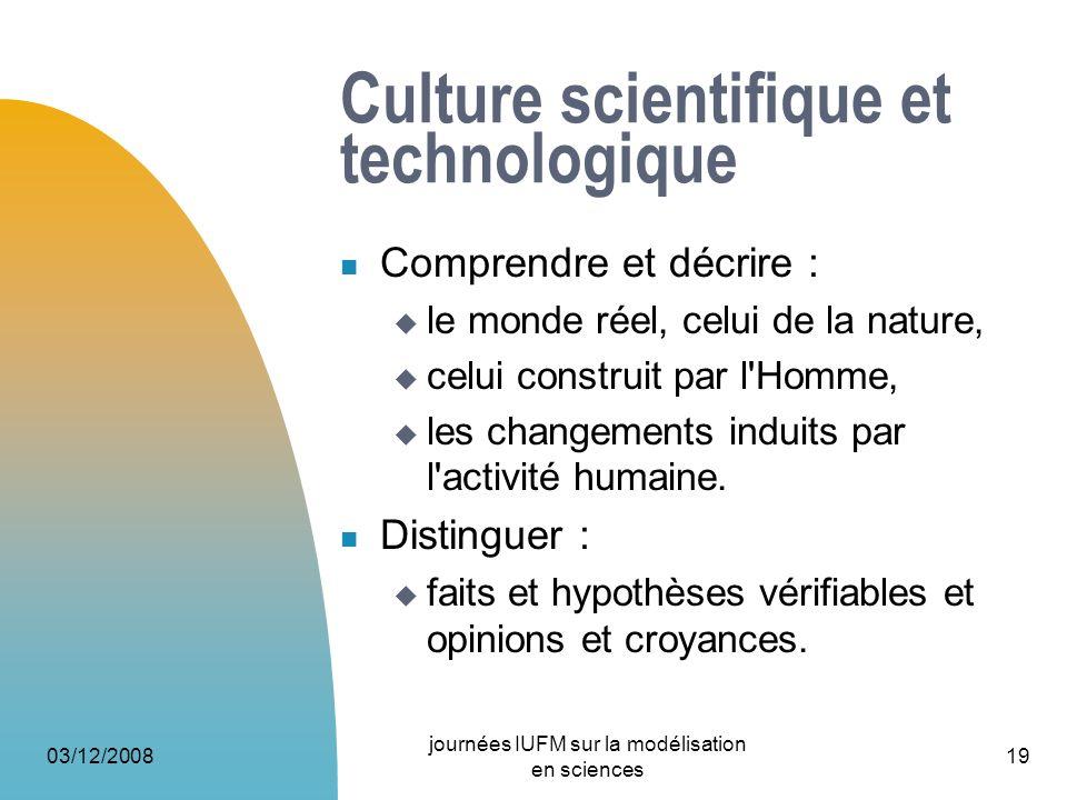03/12/2008 journées IUFM sur la modélisation en sciences 19 Culture scientifique et technologique Comprendre et décrire : le monde réel, celui de la n