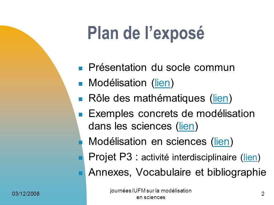 03/12/2008 journées IUFM sur la modélisation en sciences 2 Plan de lexposé Présentation du socle commun Modélisation (lien)lien Rôle des mathématiques