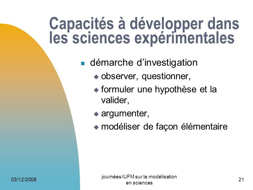 03/12/2008 journées IUFM sur la modélisation en sciences 21 Capacités à développer dans les sciences expérimentales démarche dinvestigation observer,