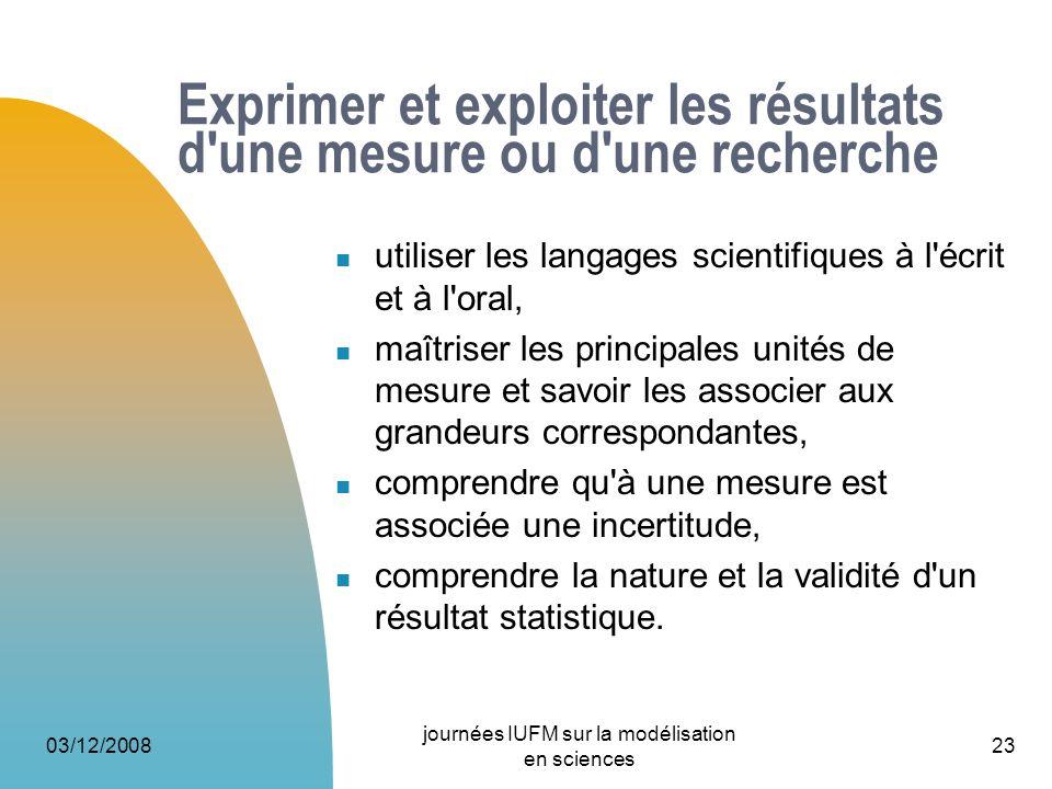 03/12/2008 journées IUFM sur la modélisation en sciences 23 Exprimer et exploiter les résultats d'une mesure ou d'une recherche utiliser les langages