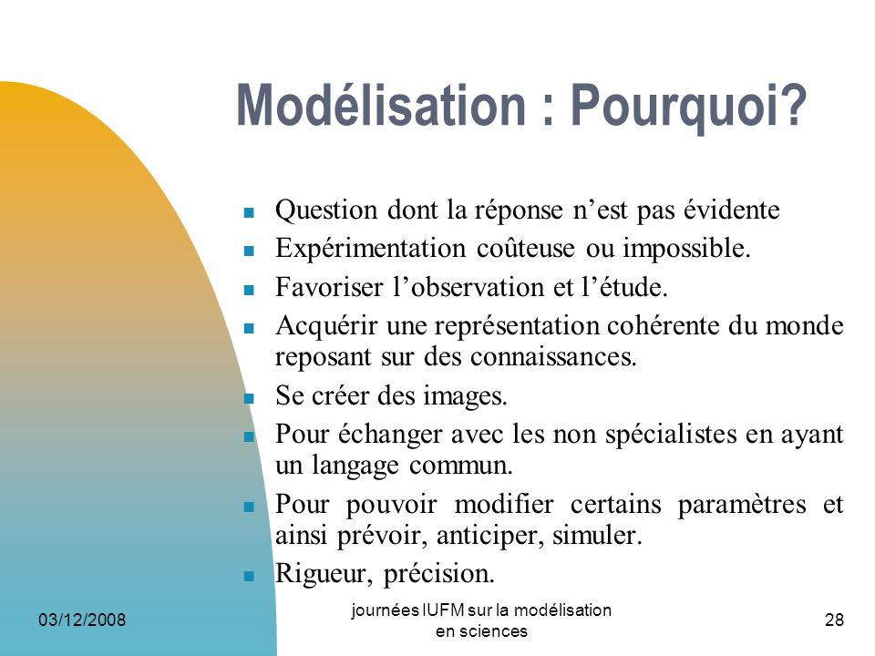 03/12/2008 journées IUFM sur la modélisation en sciences 28 Modélisation : Pourquoi? Question dont la réponse nest pas évidente Expérimentation coûteu