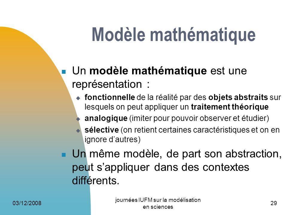 03/12/2008 journées IUFM sur la modélisation en sciences 29 Modèle mathématique Un modèle mathématique est une représentation : fonctionnelle de la ré