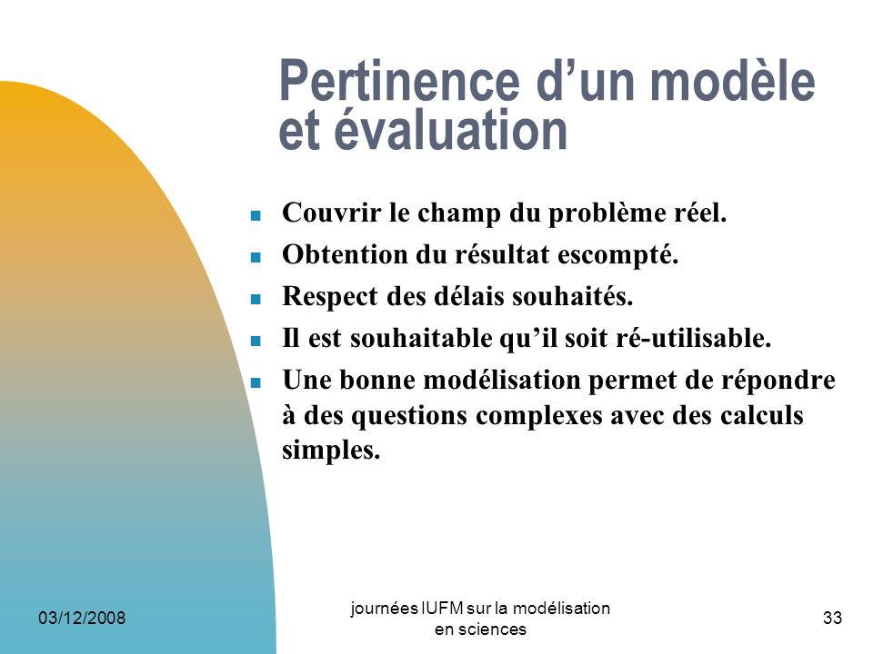 03/12/2008 journées IUFM sur la modélisation en sciences 33 Pertinence dun modèle et évaluation Couvrir le champ du problème réel. Obtention du résult