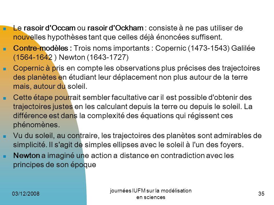 Le rasoir d'Occam ou rasoir d'Ockham : consiste à ne pas utiliser de nouvelles hypothèses tant que celles déjà énoncées suffisent. Contre-modèles : Tr