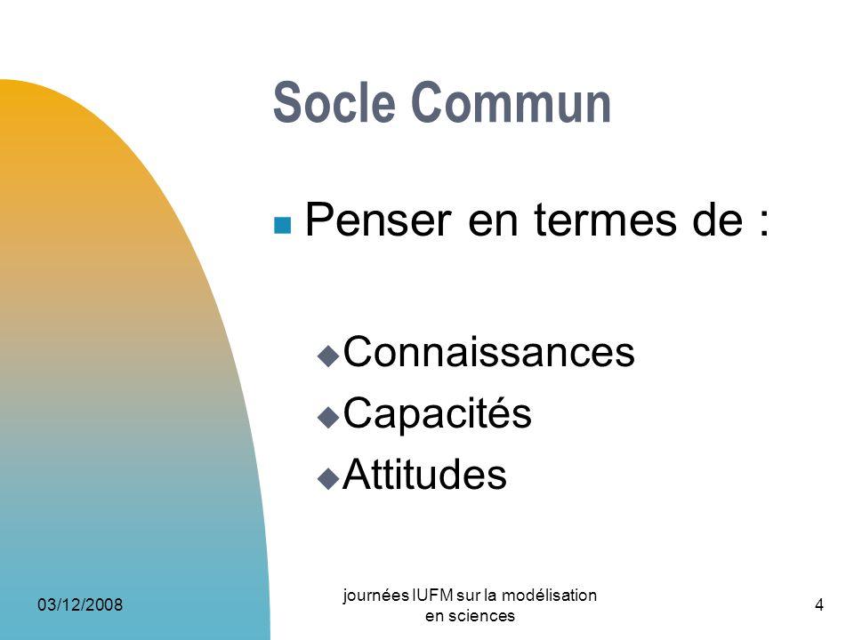 Socle Commun Penser en termes de : Connaissances Capacités Attitudes 03/12/2008 journées IUFM sur la modélisation en sciences 4