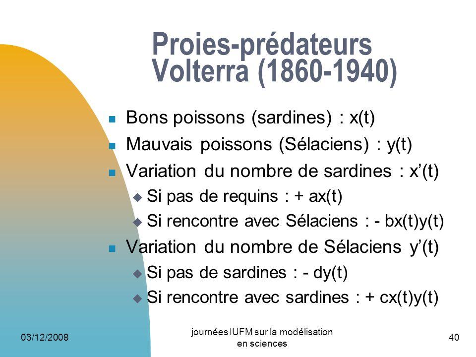 03/12/2008 journées IUFM sur la modélisation en sciences 40 Proies-prédateurs Volterra (1860-1940) Bons poissons (sardines) : x(t) Mauvais poissons (S
