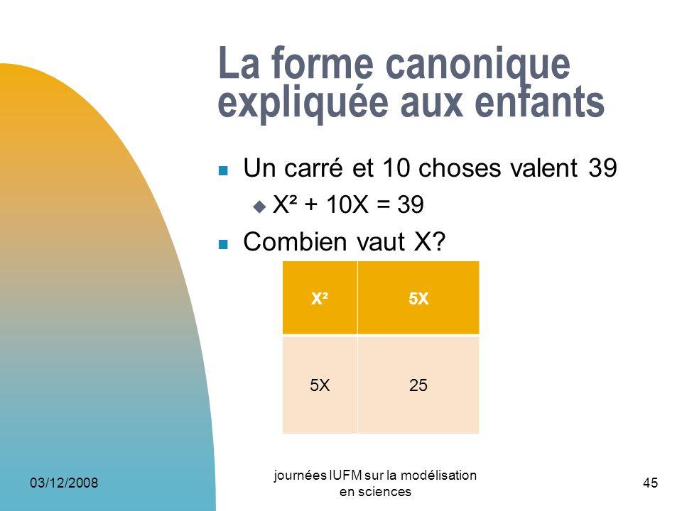 La forme canonique expliquée aux enfants Un carré et 10 choses valent 39 X² + 10X = 39 Combien vaut X? 03/12/2008 journées IUFM sur la modélisation en