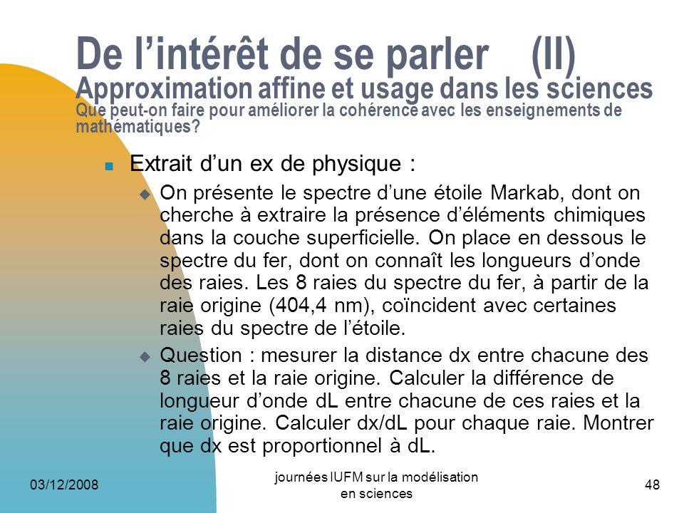 03/12/2008 journées IUFM sur la modélisation en sciences 48 De lintérêt de se parler (II) Approximation affine et usage dans les sciences Que peut-on