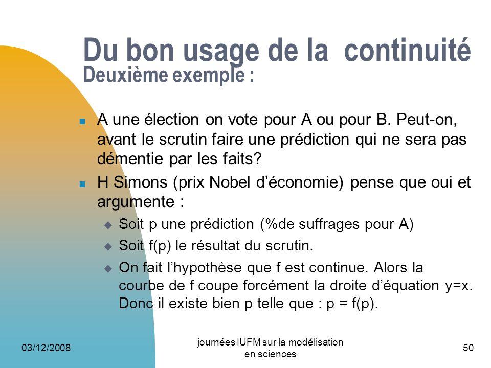 03/12/2008 journées IUFM sur la modélisation en sciences 50 Du bon usage de la continuité Deuxième exemple : A une élection on vote pour A ou pour B.