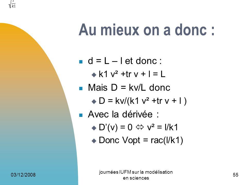 Au mieux on a donc : d = L – l et donc : k1 v² +tr v + l = L Mais D = kv/L donc D = kv/(k1 v² +tr v + l ) Avec la dérivée : D(v) = 0 v² = l/k1 Donc Vo