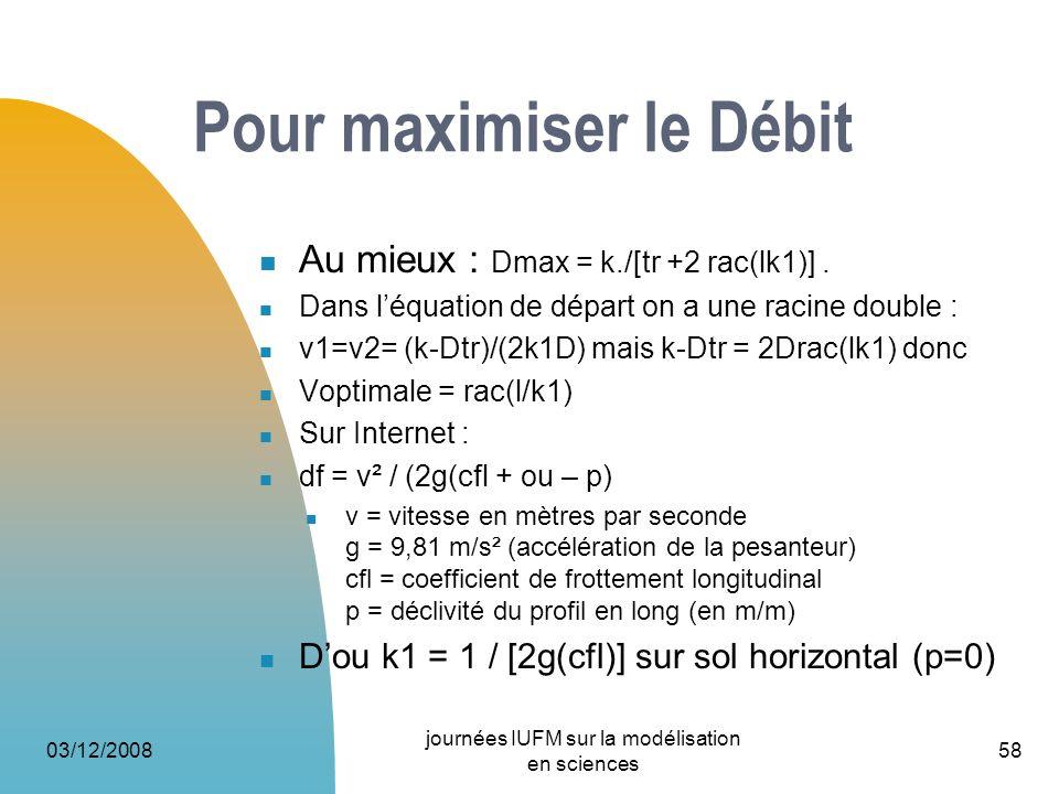 Pour maximiser le Débit Au mieux : Dmax = k./[tr +2 rac(lk1)]. Dans léquation de départ on a une racine double : v1=v2= (k-Dtr)/(2k1D) mais k-Dtr = 2D