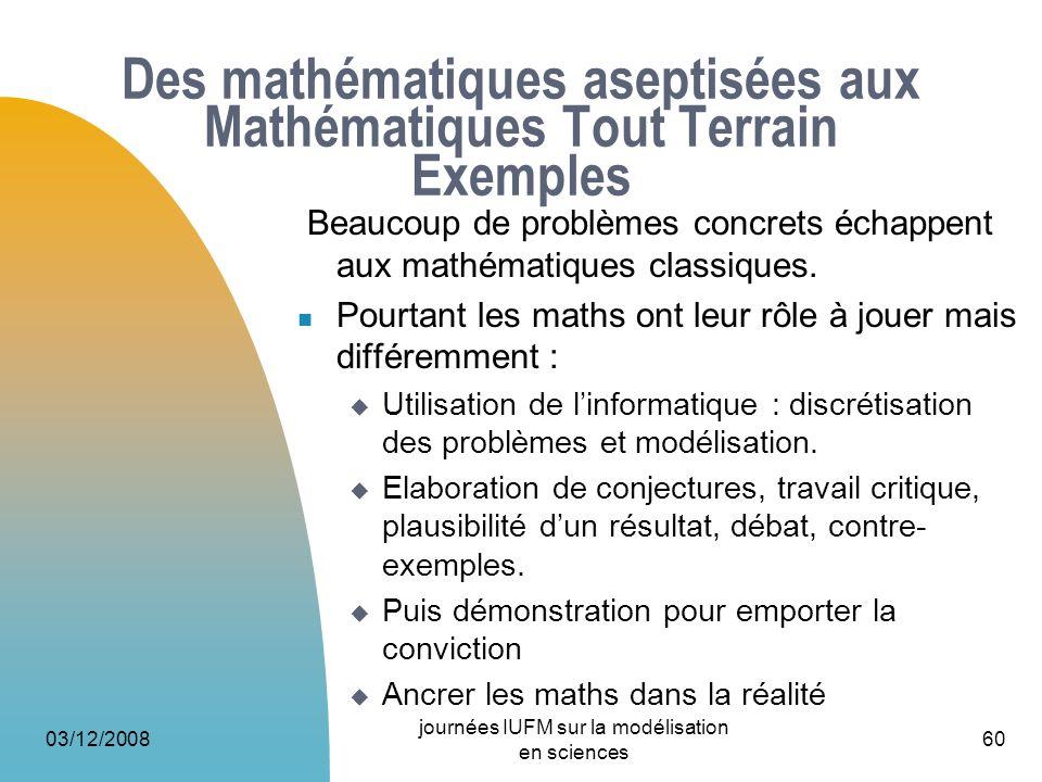 03/12/2008 journées IUFM sur la modélisation en sciences 60 Des mathématiques aseptisées aux Mathématiques Tout Terrain Exemples Beaucoup de problèmes