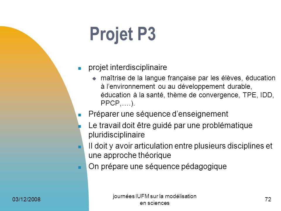03/12/2008 journées IUFM sur la modélisation en sciences 72 Projet P3 projet interdisciplinaire maîtrise de la langue française par les élèves, éducat