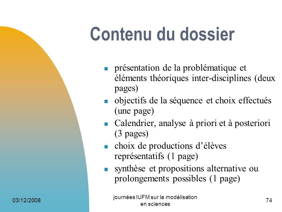 03/12/2008 journées IUFM sur la modélisation en sciences 74 Contenu du dossier présentation de la problématique et éléments théoriques inter-disciplin