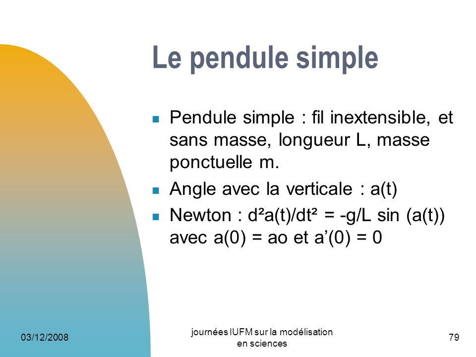 03/12/2008 journées IUFM sur la modélisation en sciences 79 Le pendule simple Pendule simple : fil inextensible, et sans masse, longueur L, masse ponc
