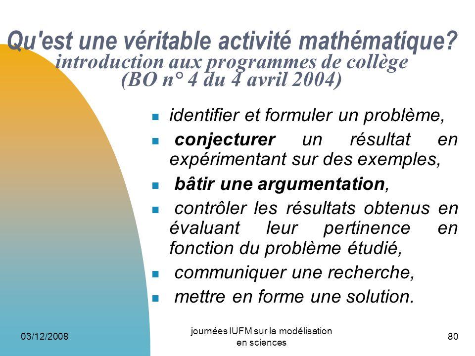 03/12/2008 journées IUFM sur la modélisation en sciences 80 Qu'est une véritable activité mathématique? introduction aux programmes de collège (BO n°